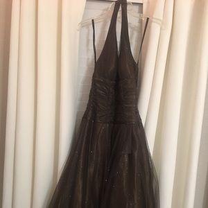 Brown halter homecoming dress